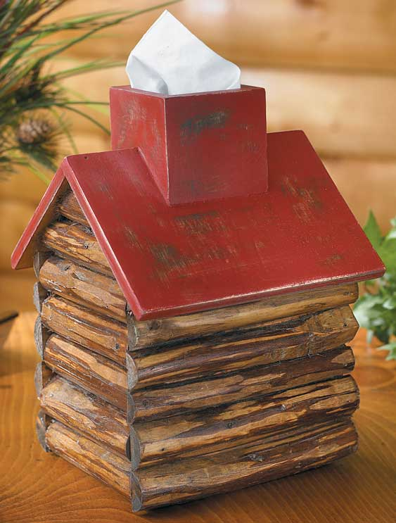 4012751601: Red Roof Log Cabin Tissue Box Cover