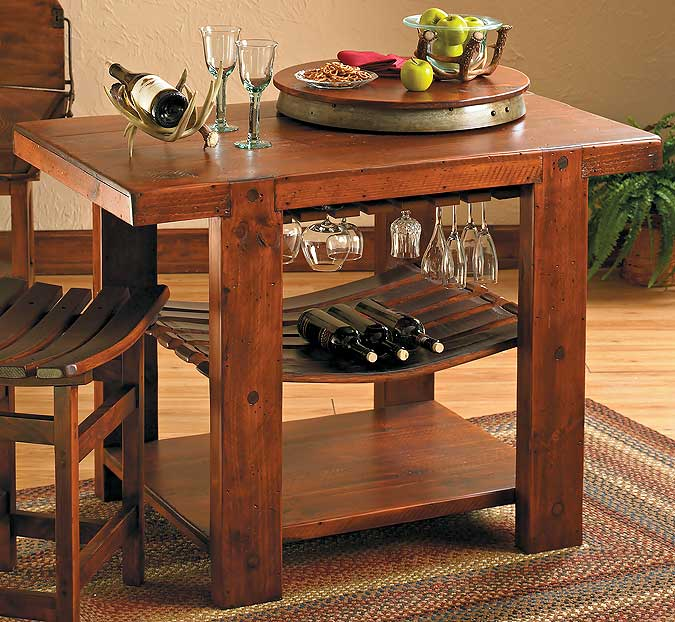 5872862501: Rustic Pine Kitchen Island