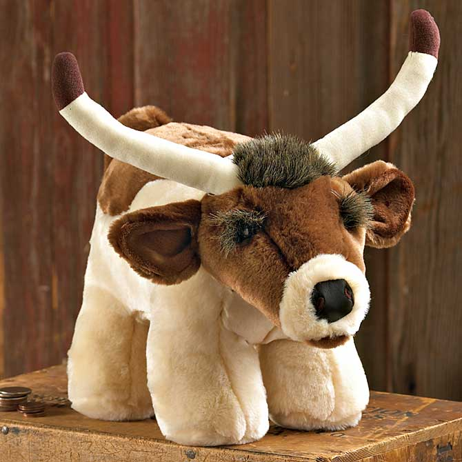 6140030480: Longhorn Steer Plush Coin Bank