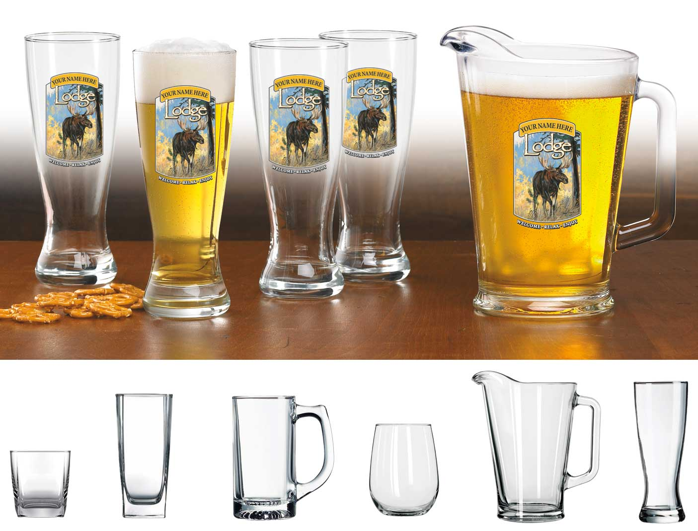 8722615503: Moose Lodge Personalized Stein Glasses (Set of 4)