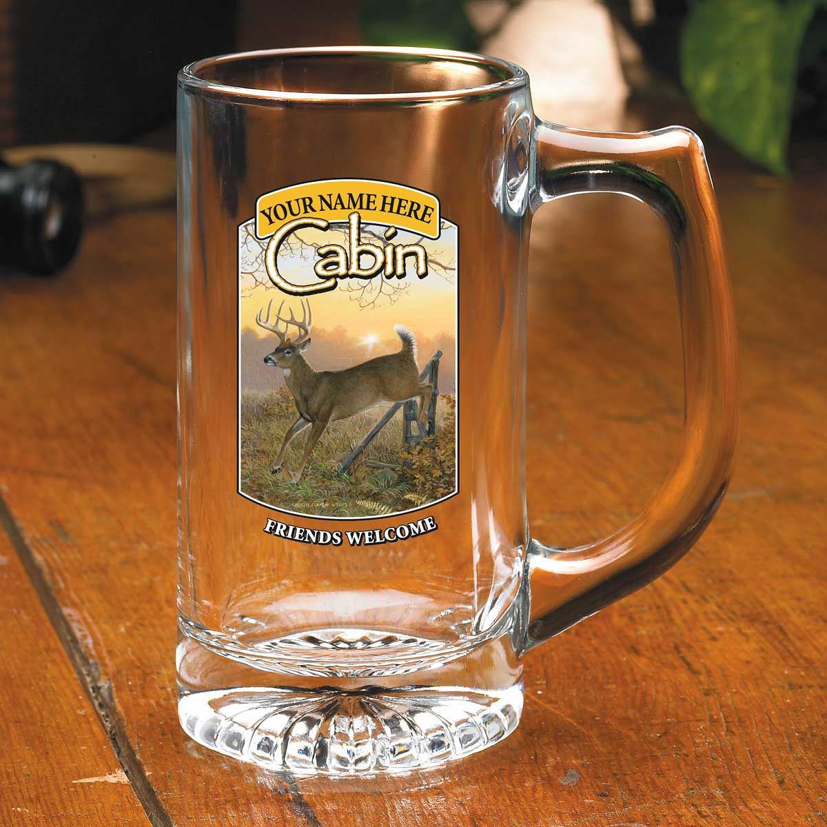 8722615603: Whitetail Deer Cabin Personalized Stein Glasses (Set of 4)