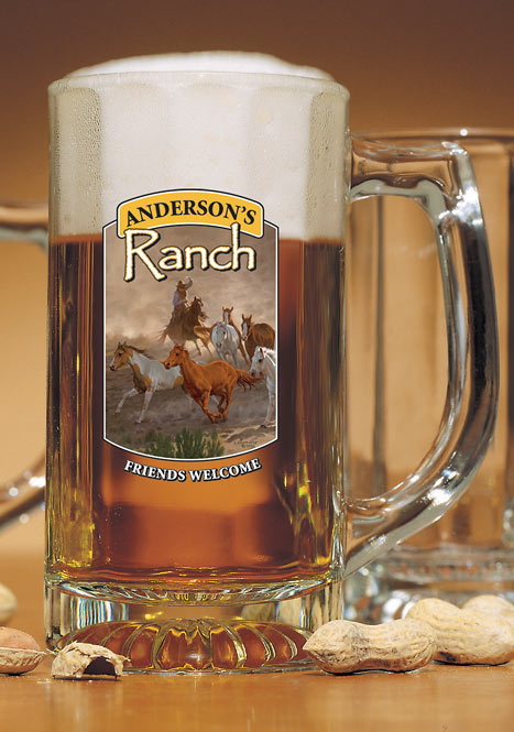 8722615803:Horse & Cowboy Ranch Personalized Stein Glasses (Setof4)