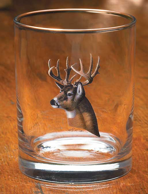 8722706502:Whitetail Deer Portrait Double Old Fashioned Glasses (Setof4)