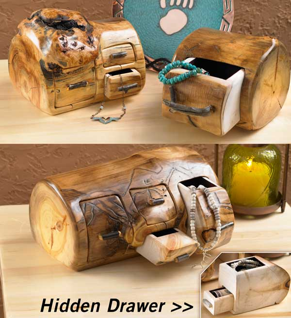 4611371501IG: Hidden Drawer Log Jewelry Box Collection