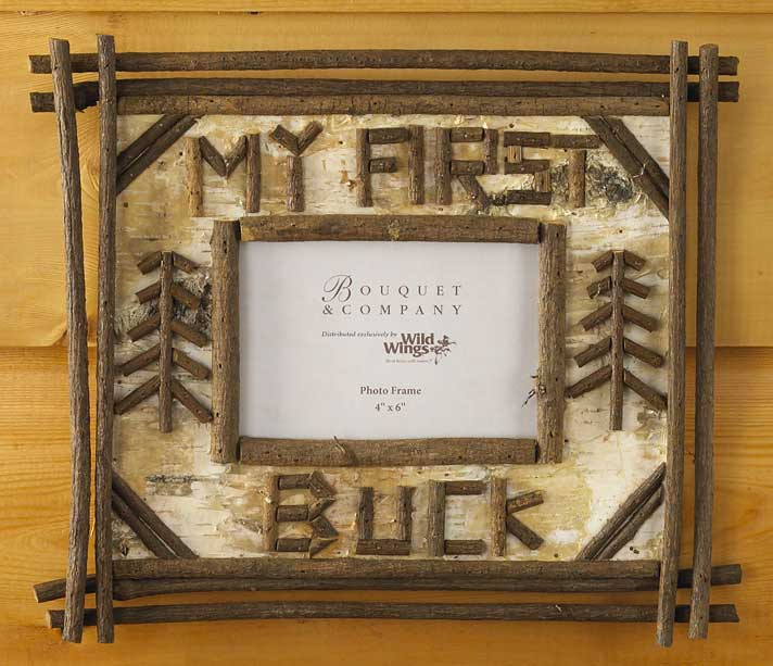 4181850906: My First Buck Birch & Twig Photo Frame