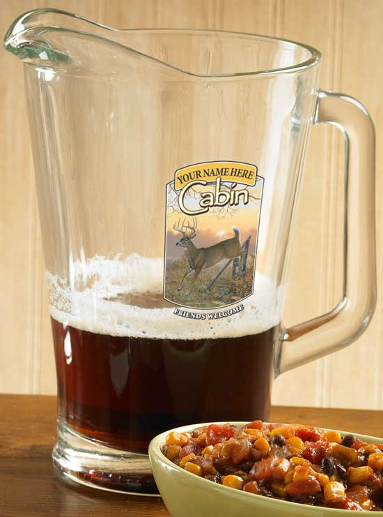 8722615612: Whitetail Deer Cabin Personalized Pitcher