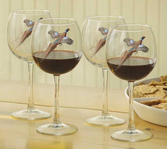 8722622507: Pheasant Red Wine Glasses (Set of 4)