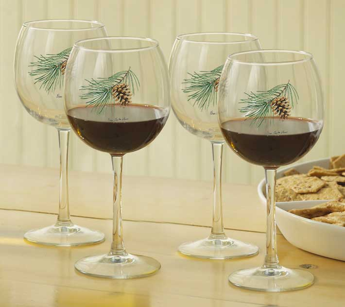 8722709107: Pinecone Red Wine Glasses (Set of 4)