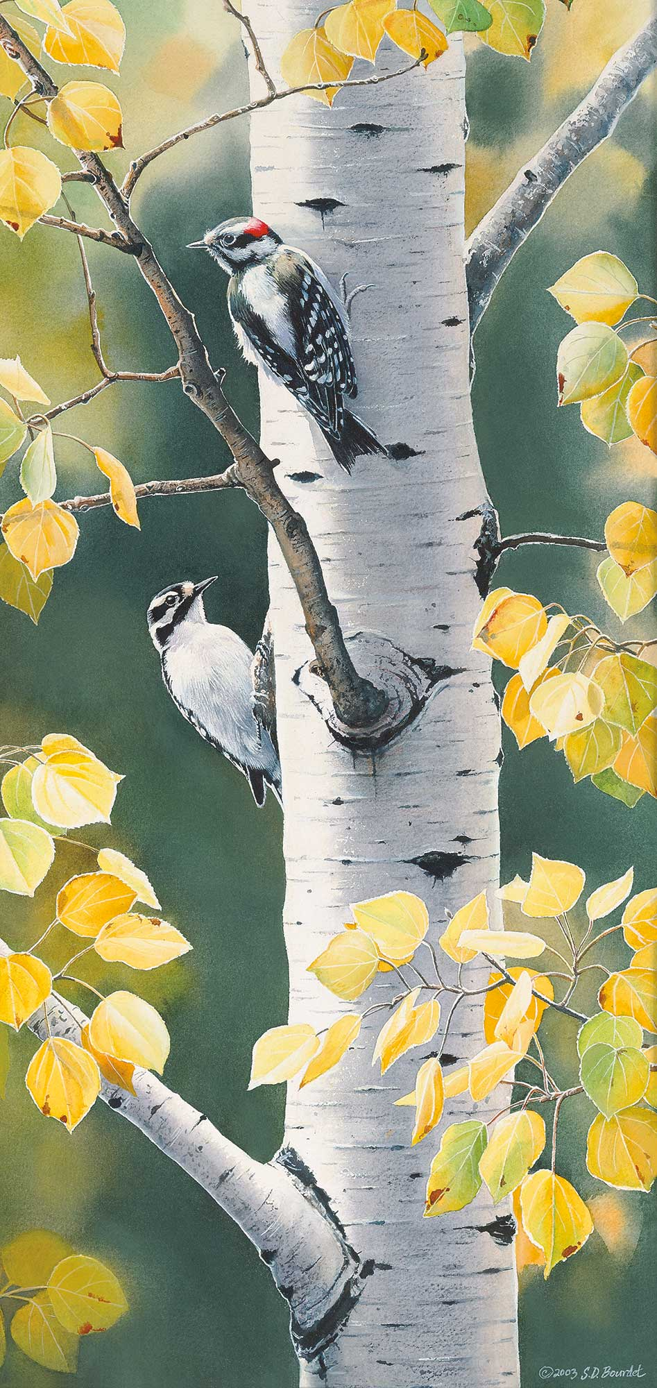 1085075131:&nbsp;<i>Autumn Afternoon&mdash;Woodpeckers;&nbsp;</i> Limited Remarque Print