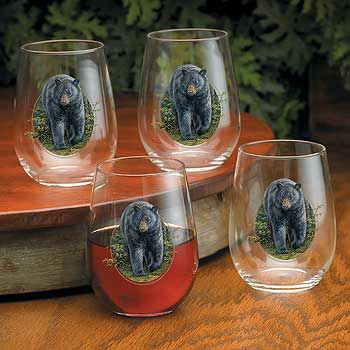 8722077505: Black Bear Stemless Wine Glasses (Set of 4)