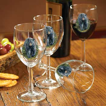 8722077504: Black Bear White Wine Glasses (Set of 4)