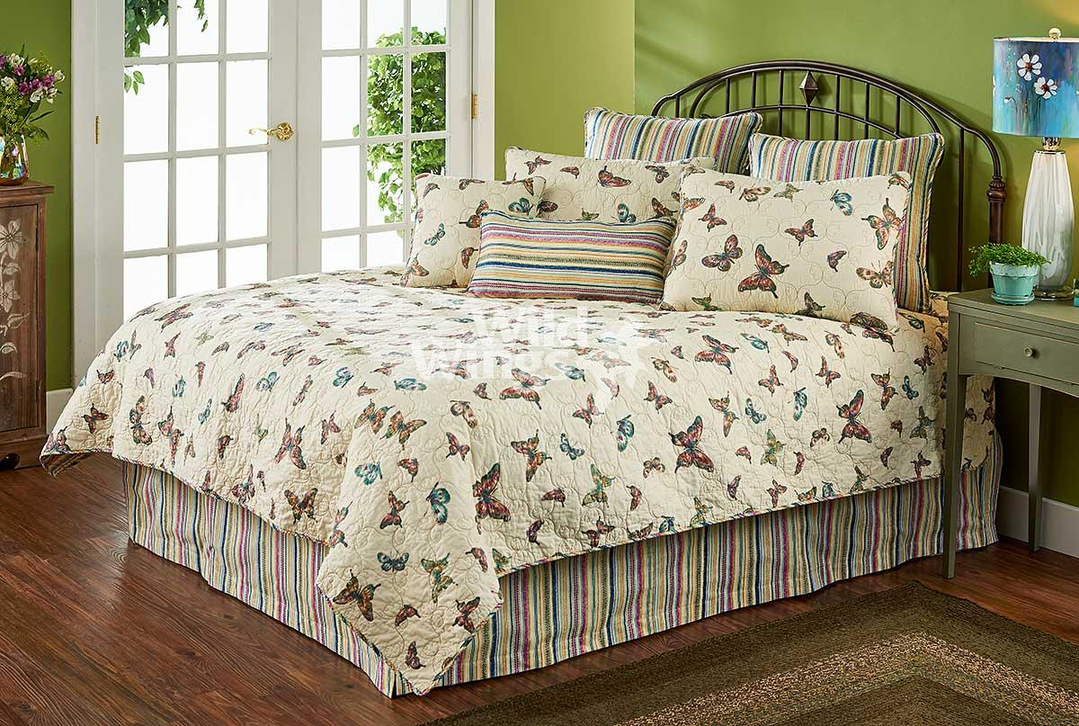 46990785SS: Pinestripe Butterfly Bedding Collection