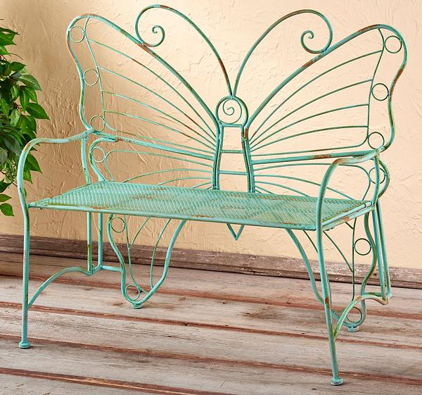 5149078601: Metal Butterfly Bench