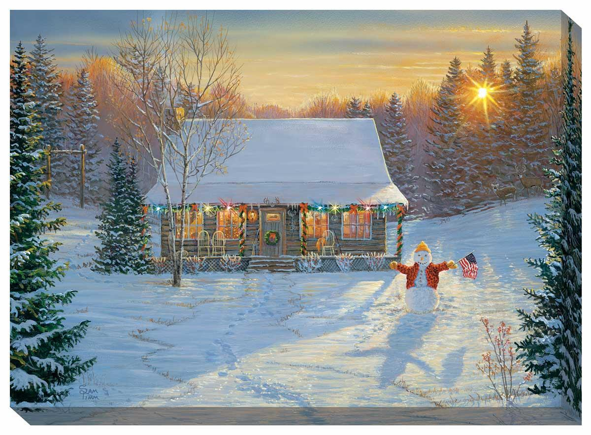 5084400018:&nbsp;<i>Sunrise Cabin;&nbsp;</i> Lighted Wrapped Canvas