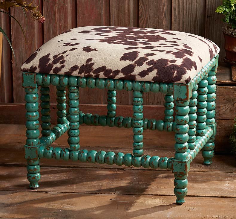 5907108201:Cowhide & Turquoise Bench