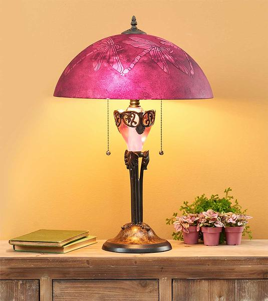 5607158501: Raspberry Dragonfly Table Lamp