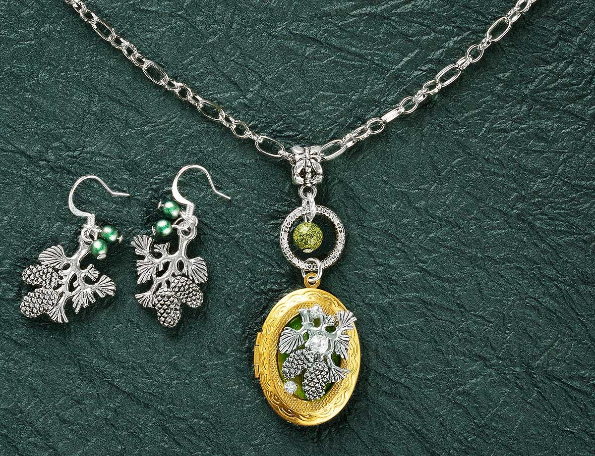 75916296DD:Evergreen Pinecone Cluster Necklace & Earrings