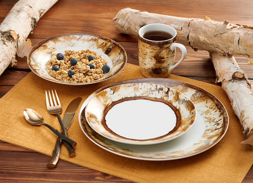 8955228901: Hardwood Forest Dinnerware Set