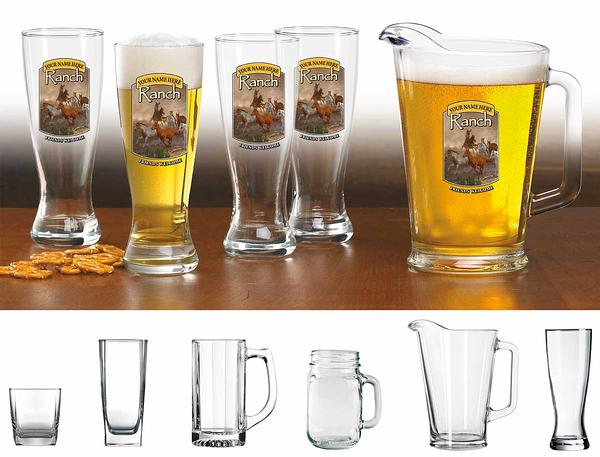 87226158SS: Horse & Cowboy Ranch Personalized Glassware