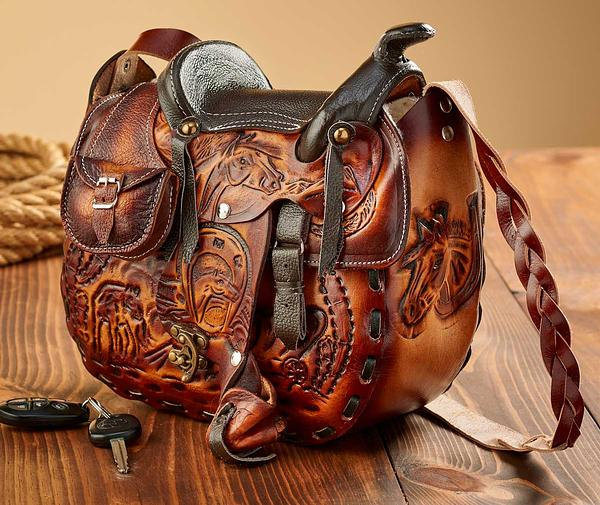 4273708202: Tooled Leather Saddle Handbag