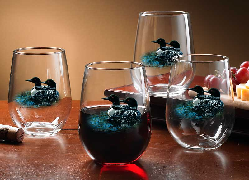 8722701005: Loon Stemless Wine Glasses (Set of 4)