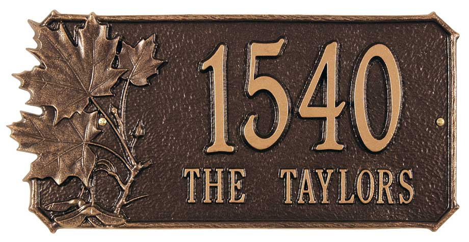 5960044189: Maple Leaves Address Plaque