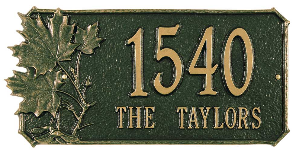 5960044089: Maple Leaves Address Plaque