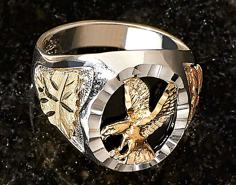 7505895432: Gold & Silver Eagle Men's Ring