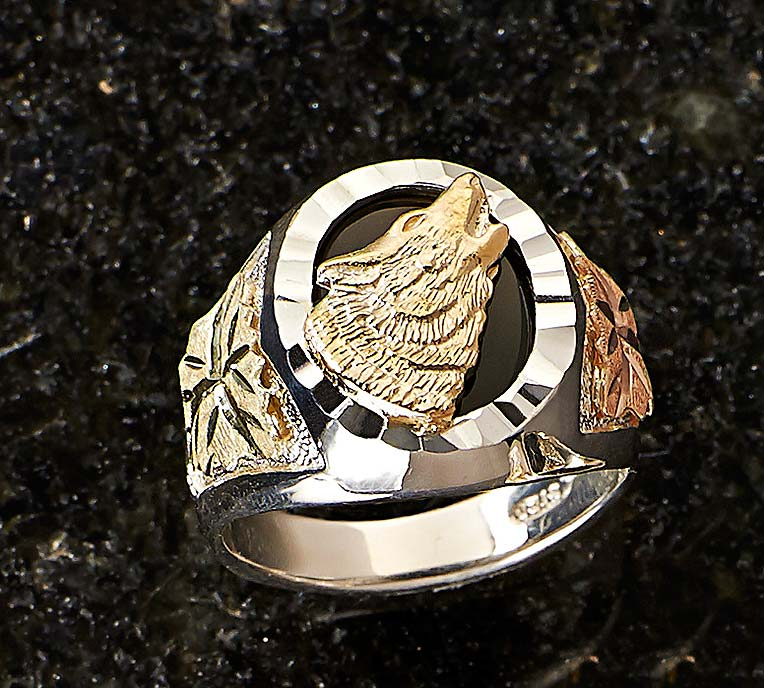 7505895471: Gold & Silver Wolf Men's Ring