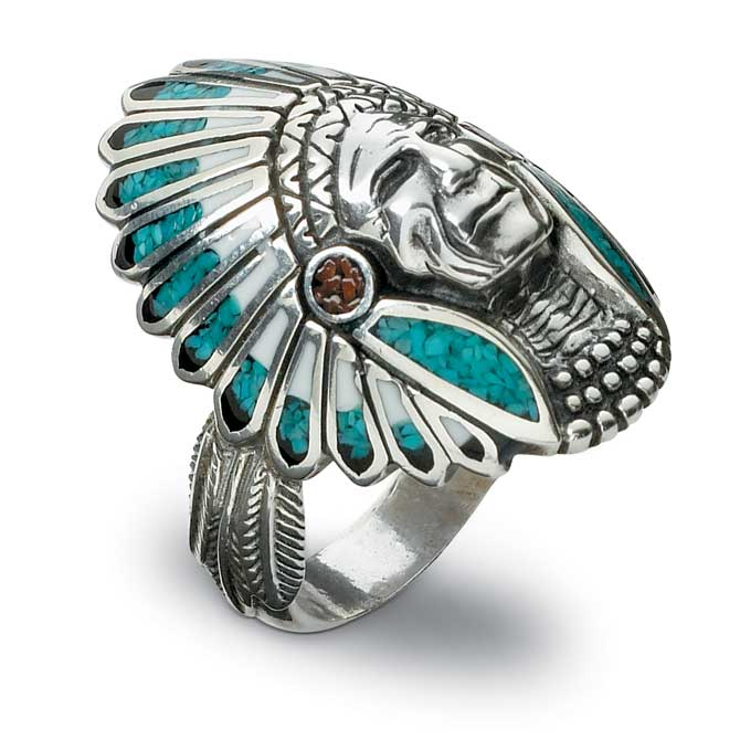 7762678202: Silver & Turquoise Indian Head Men's Ring
