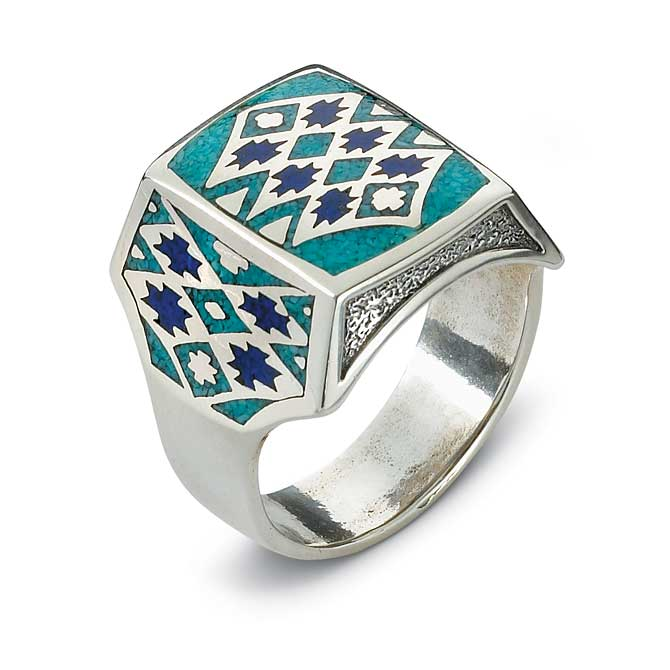 7762678201:Southwest Silver & Turquoise Ring