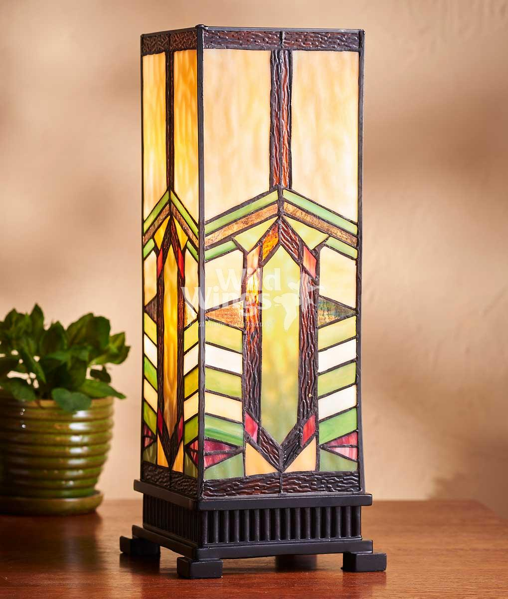 5607491601: Harvest Wheat Stained Glass Hurricane Lamp