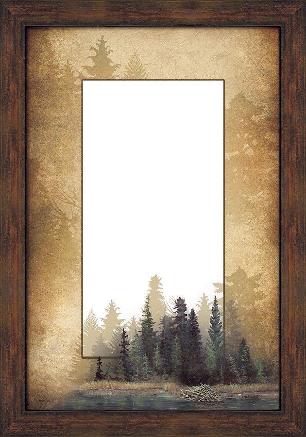 5386493509:&nbsp;<i>Misty Forest;&nbsp;</i> Large Decorative Mirror