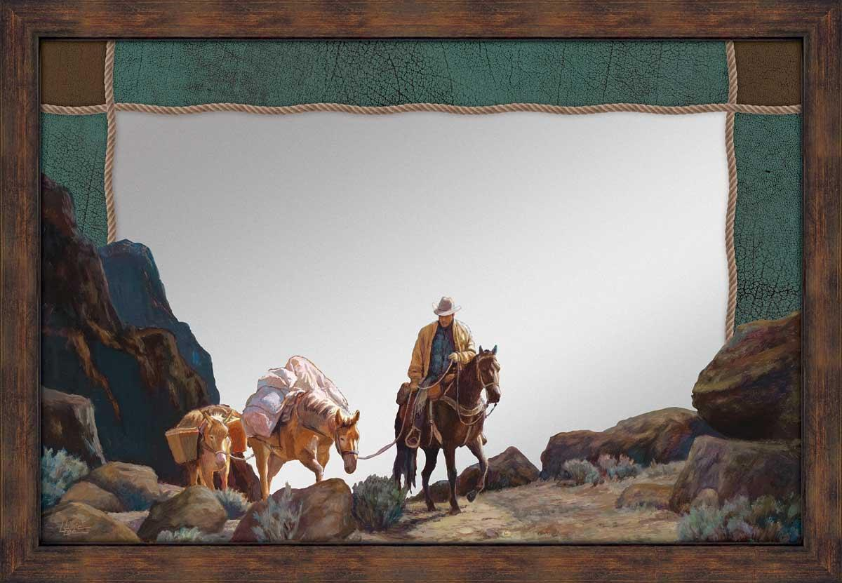 5386493034:&nbsp;<i>Moonlit Silence - Horse and Cowboy;&nbsp;</i> Large Decorative Mirror