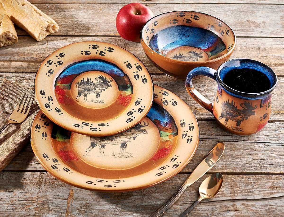 8081031568: Great Outdoors—Moose Dinnerware Set