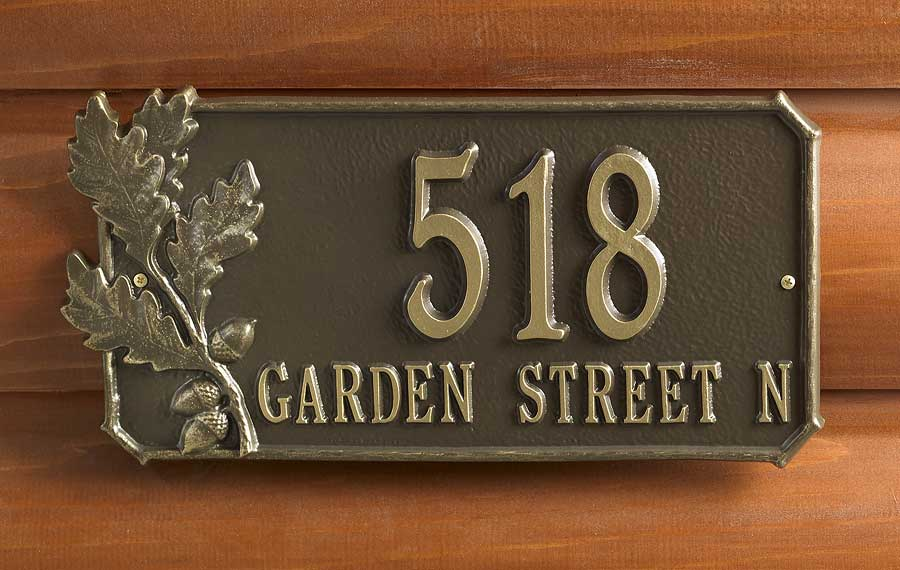 5960044177: Oak Leaves Address Plaque