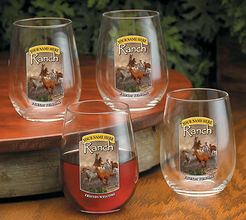 8722615805: Horse & Cowboy Ranch Personalized Wine Glasses (Set of 4)