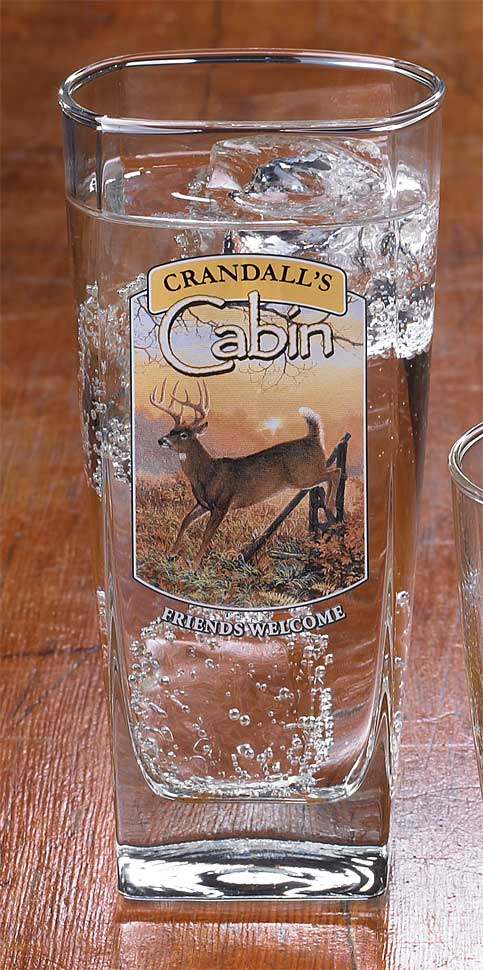 8722615606: Whitetail Deer Cabin Personalized Mixer Glasses (Set of 4)