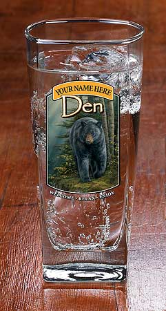 8722615906: Bear Den—Black Bear Personalized Mixer Glasses (Set of 4)