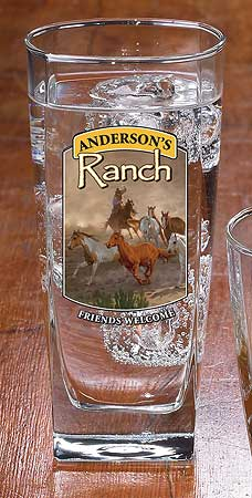 8722615806: Horse & Cowboy Ranch Personalized Mixer Glasses (Set of 4)