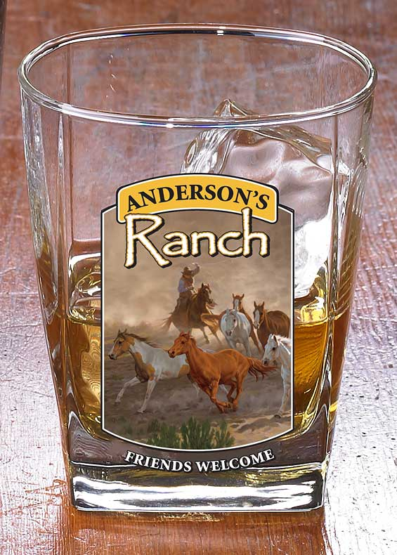 8722615802: Horse & Cowboy Ranch Personalized DOF Glasses (Set of 4)