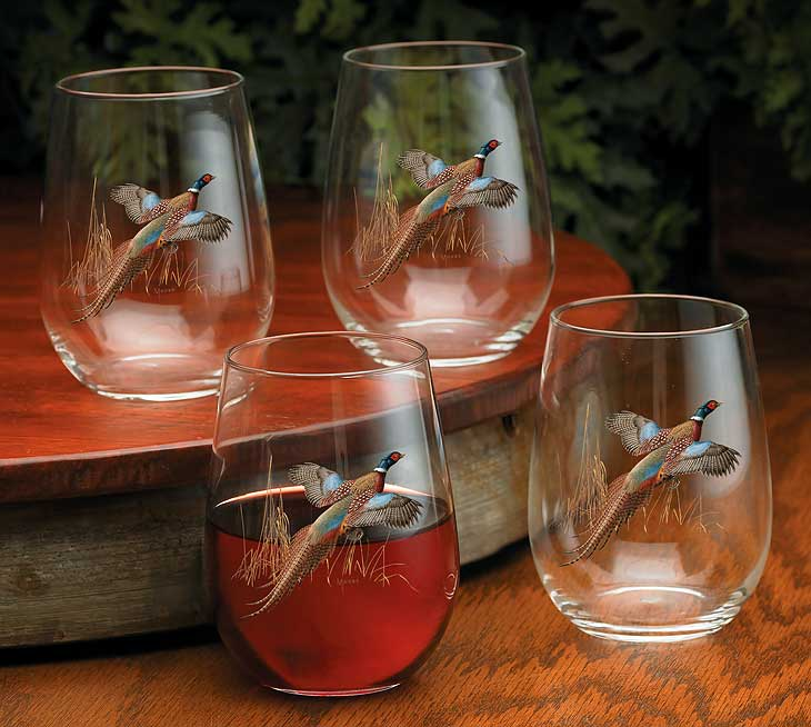 8722622505: Pheasant Stemless Wine Glasses (Set of 4)