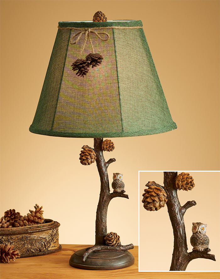 5073611530:Pine Branch & Owl Table Lamp