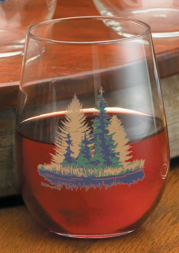 8722718905: Misty Forest Stemless Wine Glasses (Set of 4)