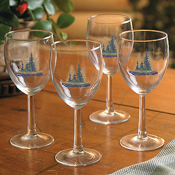 8722718904: Misty Forest White Wine Glasses (Set of 4)