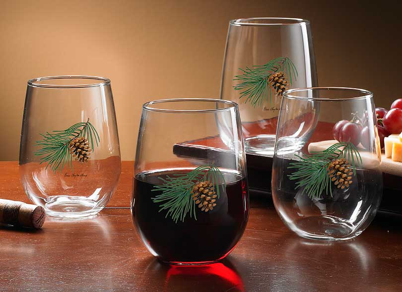 8722709105: Pinecone Stemless Wine Glasses (Set of 4)