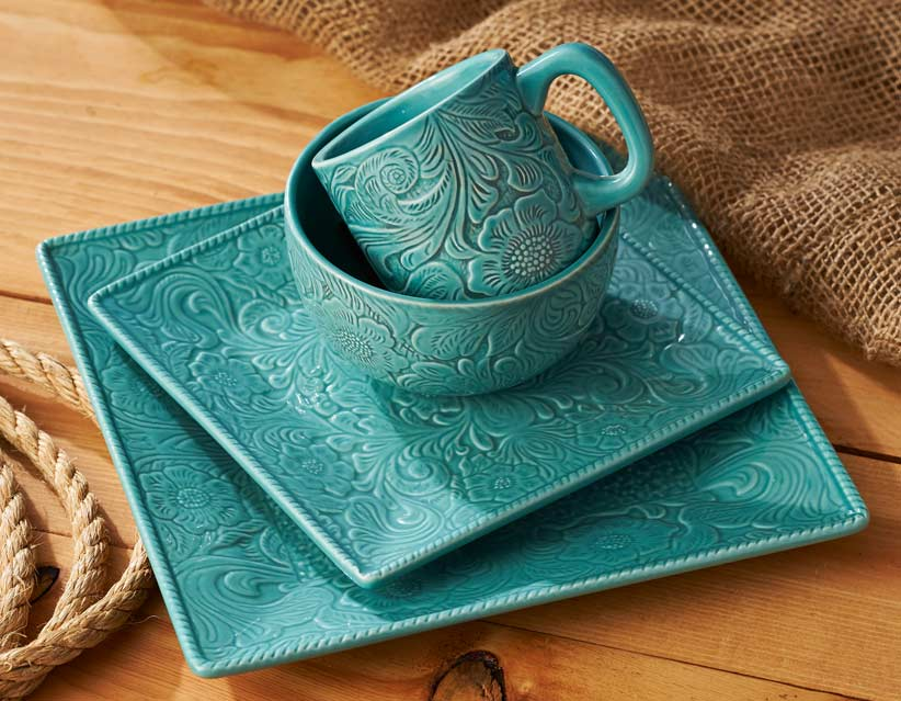 8415158202: Prairie Garden—Turquoise Dinnerware Collection