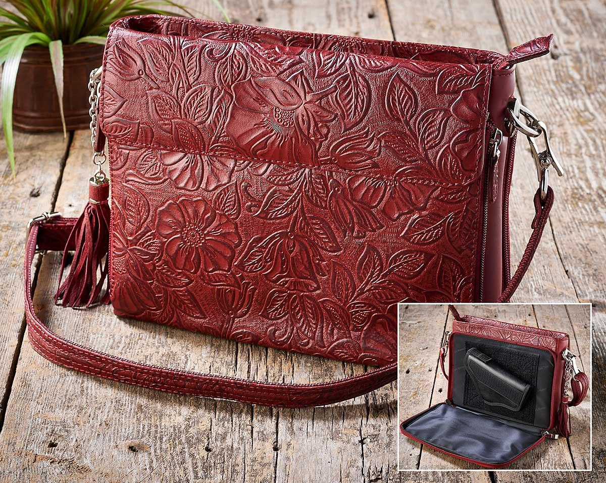 4480751501: Red Tooled Leather Handbag
