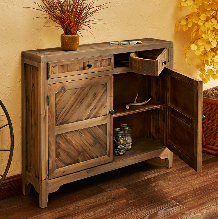 5907281501:Rustic Wood Console Cabinet