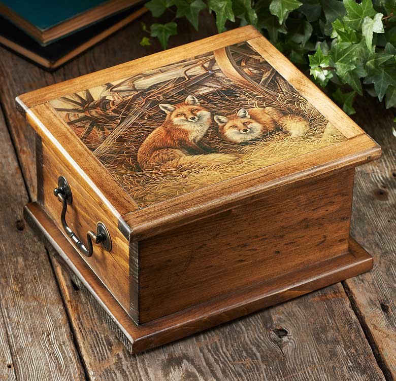 5946011572: Rustic Retreat—Fox Keepsake Box